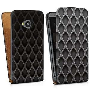 Diseño para HTC One M7 DesignTasche Downflip black - Rautenstruktur dunkel