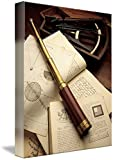 Wall Art Print entitled Telescope On Books And Charts With Octant by Morgan Howarth | 11 x 14