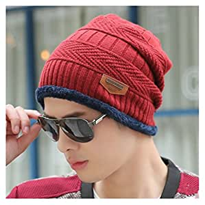 Mens Winter Knitting Warm Hat Daily Slouchy Skull Cap