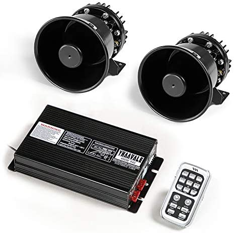 YHAAVALE Car Police Siren,Car Signal Division PA System,DV12V,400W,940 Amplifier Control Box with 2pcs Metal Black Round Cone Speaker,Car Electronic Emergency PA System