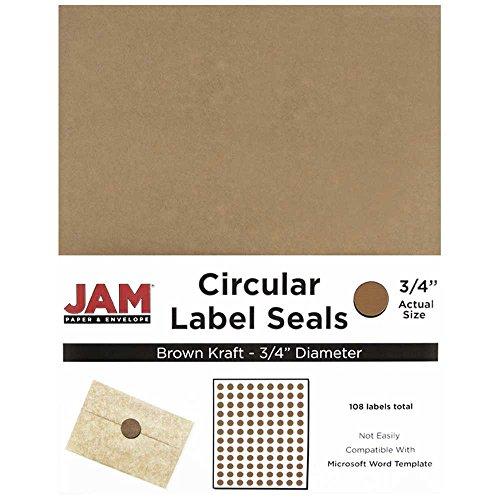 JAM PAPER Circle Label Sticker Seals - 0.75 Inch Diameter - Brown Kraft - 108 Round Labels/Pack ()
