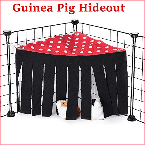 Snewvie Guinea Pig Hideout, Corner Fleece Hideaway Curtain for Guinea Pig House Hut Nest Toy Cage Accessories, Small Animal Hideout for Chinchilla Rabbit Rat Hedgehog Squirrel Ferret