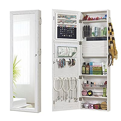 GISSAR Jewelry Mirror Armoire Wall Mount Over The Door, Mirror Jewelry Cabinet Storage Organizer Locking