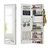 Jewelry Mirror Armoire Wall Mount Over The Door, Mirror Jewelry Cabinet Storage Organizer Locking (White)