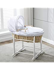 Full Set Natural Palm Moses Basket With White Waffle Dressing 100 percent Cotton & Rocking Stand Baby Bed