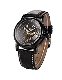 ++Canaloha:)++ KS Men Retro Skeleton Automatic Mechanical Black Leather Analog Sport Watch