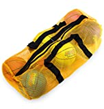 39' Mesh Sports Ball Bag with Adjustable Shoulder Strap, Oversize Duffle - Great for Carrying Gym Equipment, Jerseys, & Laundry by Crown Sporting Goods (Yellow)