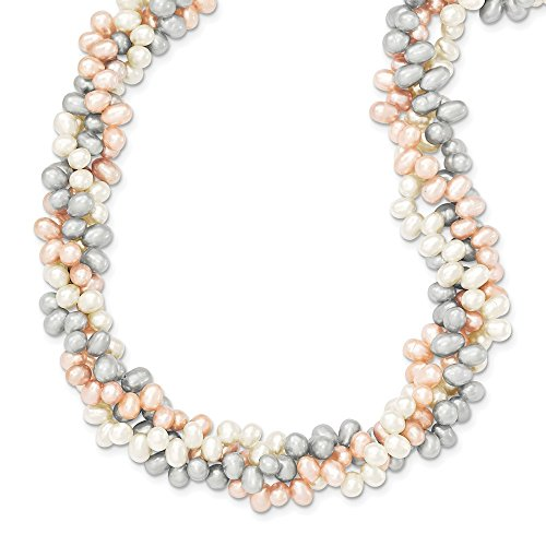 235e04ab8c5e Lovely Tri-color de collar de perlas cultivadas de agua dulce de arroz - cm