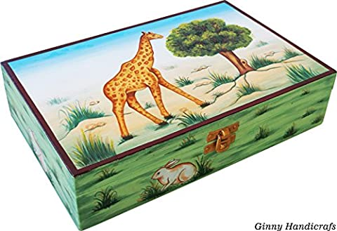 Wooden Jewelry Box Complete Hand Painted Hand made in India, Love Couple Design, Beautiful Gift for Girls and Women - Hand Painted Wooden Box