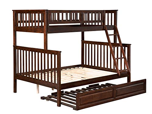 Atlantic Furniture AB56234 Woodland Bunk Bed with Twin Size Raised Panel Trundle, Twin/Full, Walnut