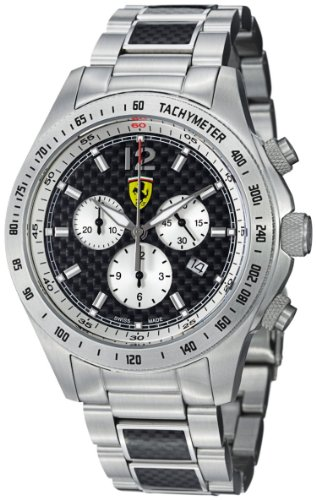 Ferrari Scuderia Black Carbon Fiber Dial Chronograph Stainless Steel Mens Watch FE-07-ACC-CM-FC