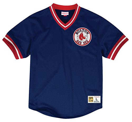 Boston Red Sox Mlb Tackle - Mitchell & Ness Boston Red Sox MLB Men's Team Win Mesh Jersey Shirt