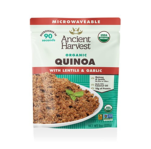 Ancient Harvest Microwaveable Organic Quinoa with Lentils and Garlic, Pack of 12, 8 Ounce Microwavable Pouches for Convenient Daily Protein by Ancient Harvest