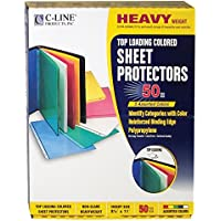 C-Line Top Loading Polypropylene Sheet Protectors, 8.5 x 11 Inches, 50 per Box, Assorted Colors (62010)