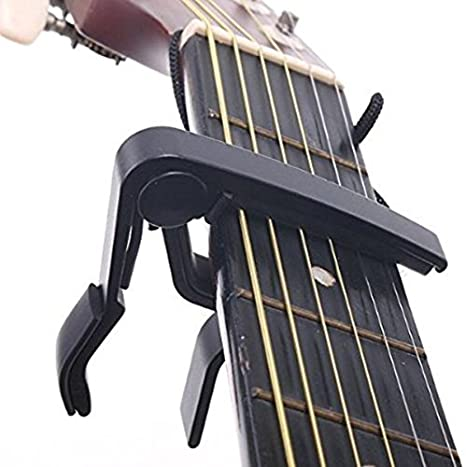 philna12 Universal con una sola mano disparador de aleación guitarra Capo cambio rápido (negro)