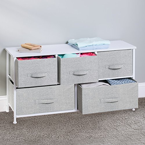 mDesign Fabric 5-Drawer Storage Organizer Unit for Closet, Bedroom, Office - Gray