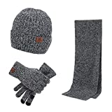 Xianheng Hat Scarf Gloves Touch Screen 3 Pieces Winter Knitted Set for Men Women (#6)