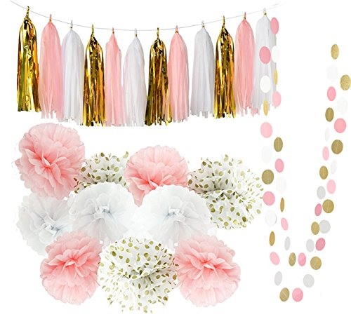 qians party baby pink gold white baby shower decorations for girlparty decorations first birthday decorations tissue paper pom pom tassel garland circle - Gold Decorations