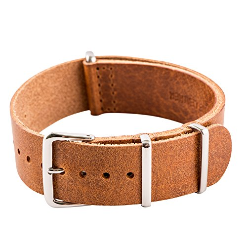 Clockwork Synergy­ Leather NATO Watch Strap Band (19mm, Worn Light Brown)