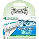 Wilkinson sword quattro titanium - Cuchillas de afeitar (pieles sensibles, 4 unidades)