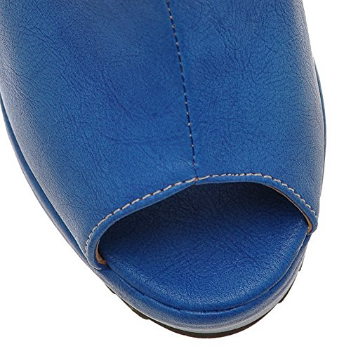 Ouvert Femmes Haut Pu Des Toe Bleu Solide Souple Sandales De Voguezone009 Talon Plateforme Peep Coin XAqWZ