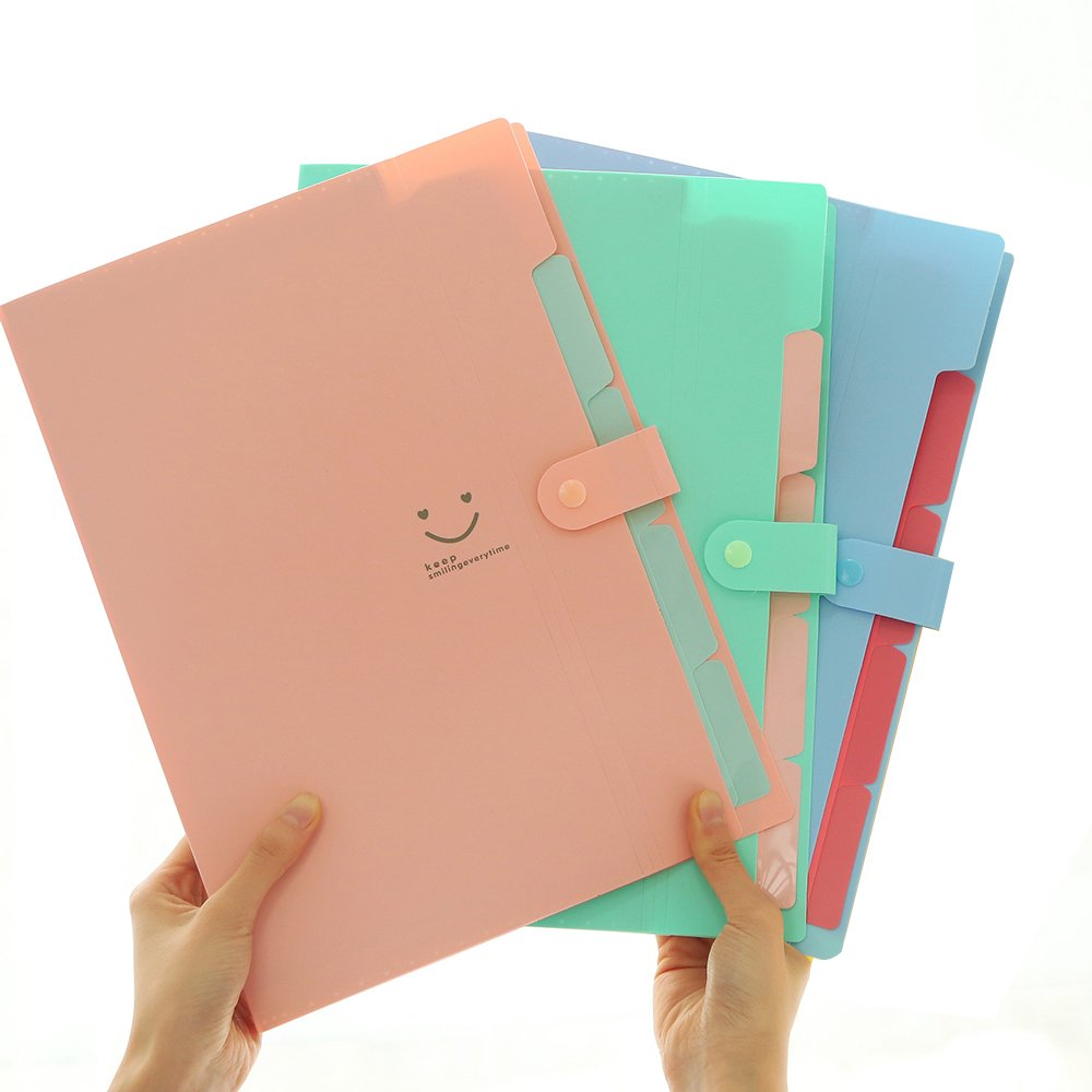 3 Pcs Expanding Accordion Document Organizer - 5 Pockets A4 Plastic File Folders Pocket Folders for School and Office (Multicolor)