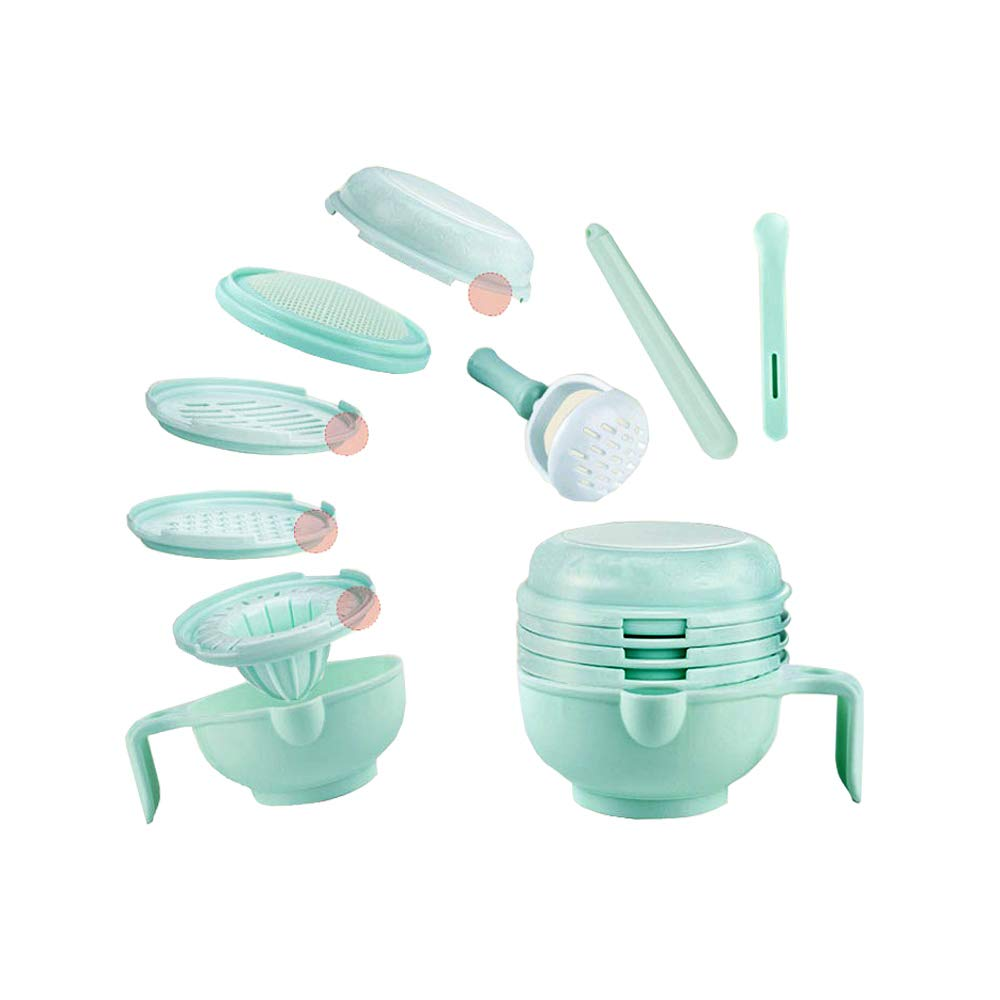 DKY Food Mill Baby Food Processor - Baby Bowls Food Feeder Masher Maker Multifunction - Mash Prep Serving DIY Homemade 8 in 1 Set