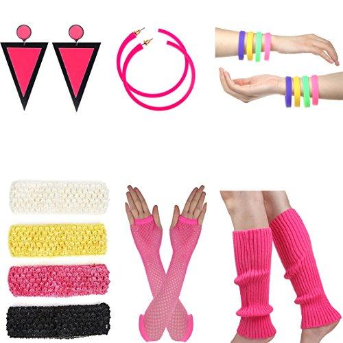 1980s Prom Costumes (Women's 80s Costume Long Fishnet Gloves Neon Earrings Beads Leg Warmers Stripes Stockings (D))