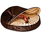 1 Piece Espresso Orthopedic Large 35 Inches Snuggery Burrow Comfort Pet Bed, Dark Brown Color Round Design Ortho Dog Foam Bedding Zippered Removable Cover Hood Flexible Hoop, Polyester Microvelvet