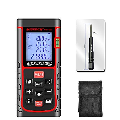 NKTECH Laser Distance Meter Laser Rangefinder 40m 60m 80m 100m 120m 150m Range Finder Tools m/in/ft Length Tape Area Volume Angle Measuring IP54 Air Bubble Level (NK-E60 196ft)