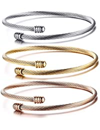Fashion Stainless Steel Triple Three Stackable Cable Wire Twisted Cuff Bangle Bracelets Set for Women