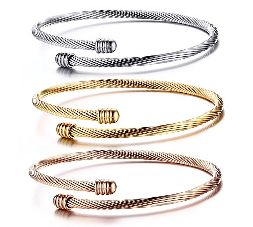(Keklle Jewelry Fashion Stainless Steel Triple Three Stackable Cable Wire Twisted Cuff Bangle Bracelets Set for Women)
