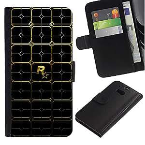 Protector de cuero de la PU de la cubierta del estilo de la carpeta del tirón BY RAYDREAMMM - HTC One M8 - Patrón Juegos R0Ckstare Oro