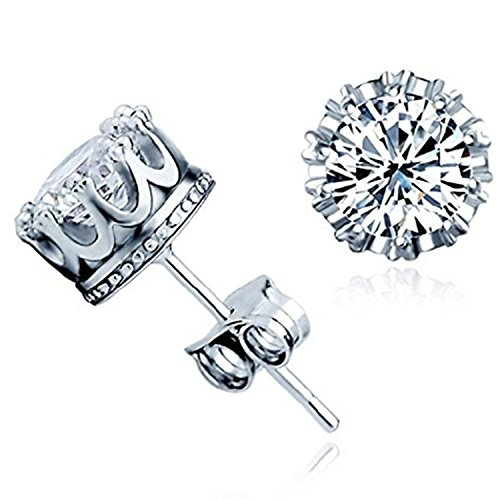 DRKK Steel DRM 1Pair 925 Sterling Silver Crown Shaped Austrian Crystal Stud Earrings for Both Men and Women Gift