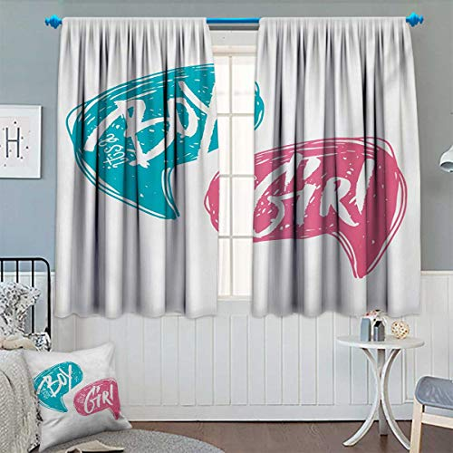 Chaneyhouse Gender Reveal Room Darkening Curtains Hand Drawn Style Sketch Boy and Girl Letters Toddler Baby Shower Art Customized Curtains 72