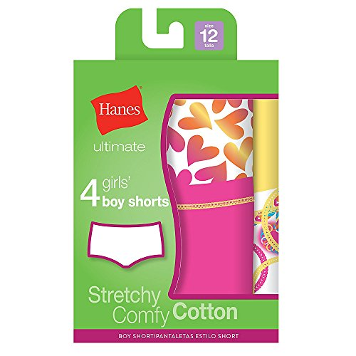 """Hanes Ultimateâ""""¢ Tagless Cotton Stretch Girls' Boy Shorts 4-Pack by Hanes"""