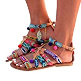 Women Beach Peep-Toe Outdoor Sandals Women Bohemia Sandals Gladiator Leather Sandals Flats Shoes Pom-Pom Sandals (US:8, Multicolor)
