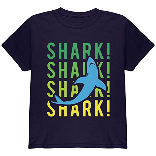 (Animal World Shark Stacked repeat Youth T Shirt Navy YMD)
