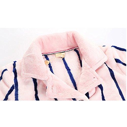 bottone accogliente Bathrobes da Accappatoio abito bottoni a 165cm caldo sera per e Tasche con Morbido Dimensione L da notte righe con rosa Pigiama Pigiama qrwHrI