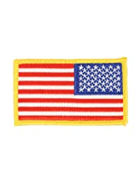 """USA Flag Embroidered Velcro Shoulder Patch - 3.5"""" x 2"""" - Reverse (Full Color)"""