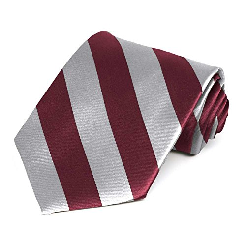Satin Striped Extra Long Tie - TieMart Burgundy and Silver Extra Long Striped Tie