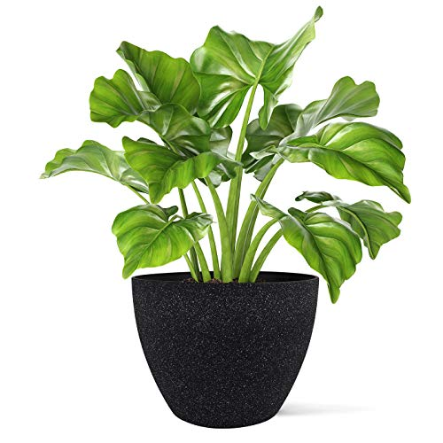 Tree Planter Pot Large Indoor Planter - Resin Self-Watering Self-Aerating Planter with Drainage, 14.2 Inch Planter, Indoor Outdoor Flower Plant Pot, Modern Speckled-Black Pot (Large Planter Pots For Trees)