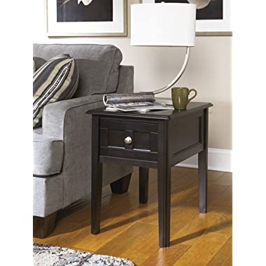 Ashley Furniture Signature Design Henning Chair Side End Table, Almost Black Finish