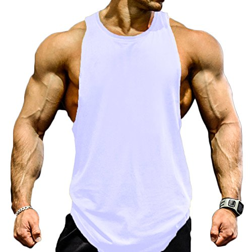 f78c72bfe7b Magiftbox Men s Muscle Workout Tank Tops Gym Shirts T189 White US-M - Buy  Online in Oman.