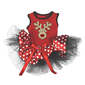 Petitebella Puppy Clothes Reindeer Red Polka Dots Christmas Dog Dress (Large)