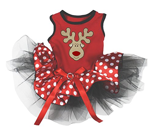 Petitebella Puppy Clothes Reindeer Red Polka Dots Christmas Dog Dress (Small)