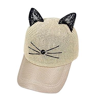 Vertily Hat Cute Cat Ears Cartoon Adujustable Flat Bill Mesh Lovely Snapback Cap by Vertily