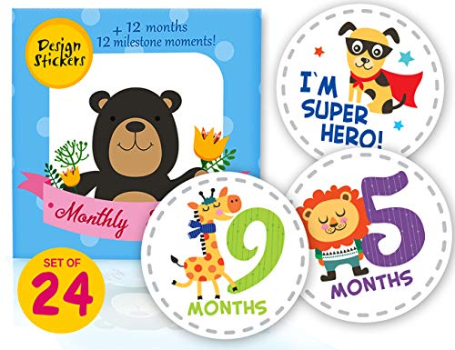 Baby Milestone Monthly Stickers 24pcs - Month Onesie First Year Stickers - [Set of 12 + 12 Photo Bonuses] Baby Shower Gift for Scrapbook Photo