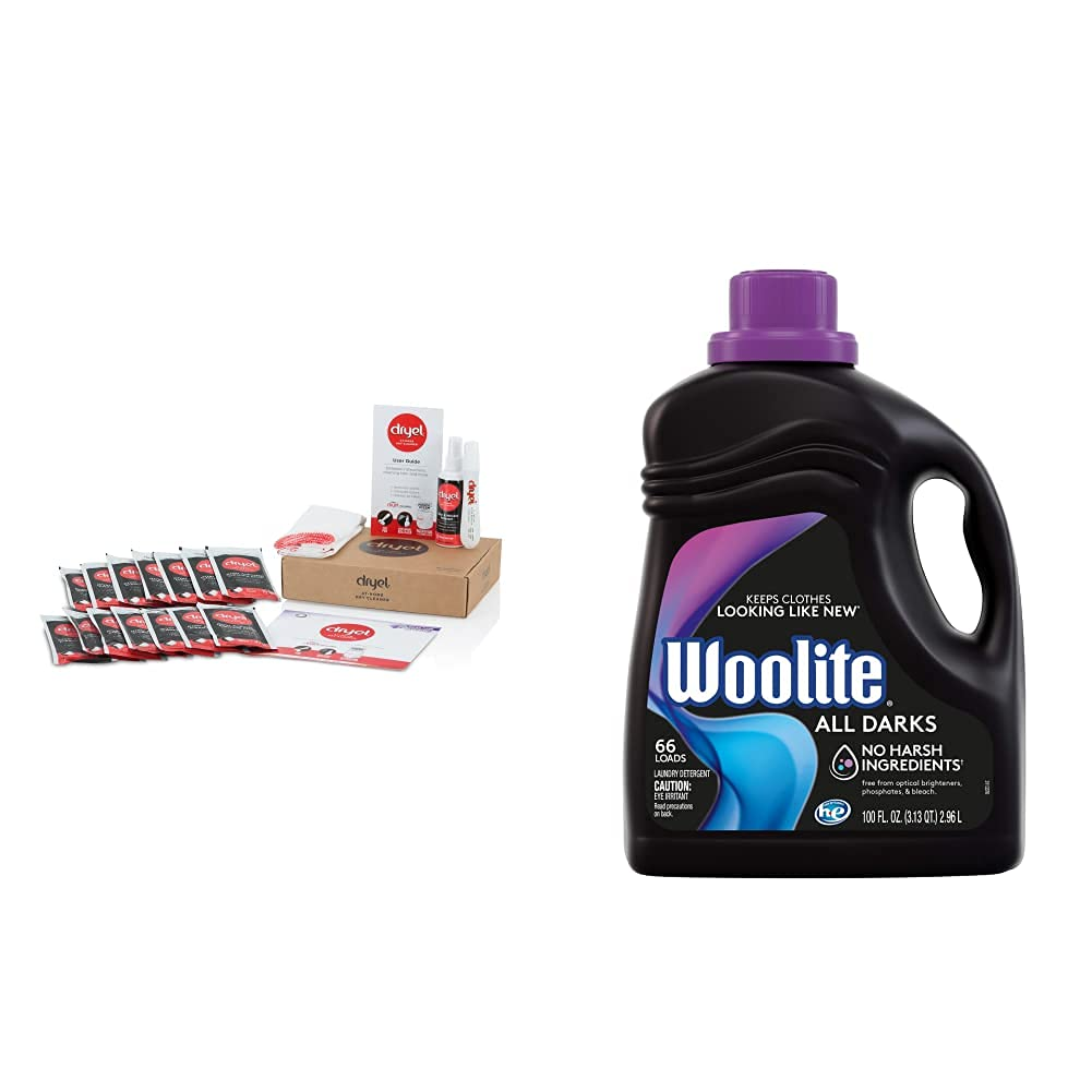 dryel - CRB-12000v2 Dryel At-Home Mega Dry Cleaner Starter Kit & Woolite All Darks Liquid Laundry Detergent 66 Loads, 100 Fl Oz (Pack of 1), Packaging May Vary