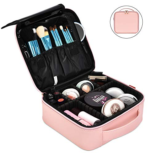 (NiceEbag Makeup Bag Travel Cosmetic Bag for Women Cute Makeup Case Large Leather Cosmetic Train Case Organizer with Adjustable Dividers for Cosmetics Make Up Tools Toiletry Jewelry,Rose gold)